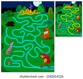 Help this tourist find his way to the campground. Maze game. Cartoon vector illustration. Education game for children.