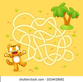 Help tiger cub find path to palm. Labyrinth. Maze game for kids