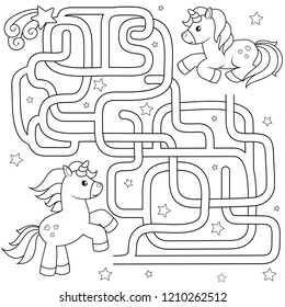 Help unicorn find path to friend. Labyrinth. Maze game for kids. Vector black and white illustration for coloring book