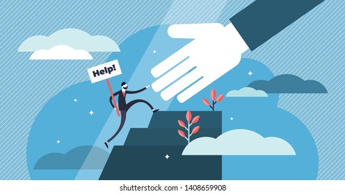 Help vector illustration. Flat tiny emergency assistance person concept. Rescue solution in danger and problematic situation. Social solidarity and voluntary aid service. Abstract giving hand teamwork