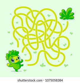 Help vegan character find path to salad. Labyrinth. Maze game for kids. Vector illustration.