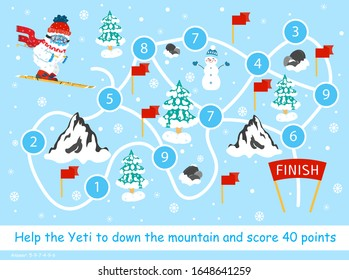 Help the Yeti down the mountain and score 40 points. Color elementary arithmetic maze game for children. Puzzle. Math summation tangled road with key. Cute snow yeti skiing. Winter holidays for kids