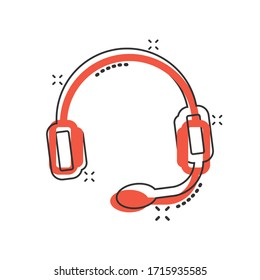 Helpdesk icon in comic style. Headphone cartoon vector illustration on white isolated background. Chat operator splash effect business concept.