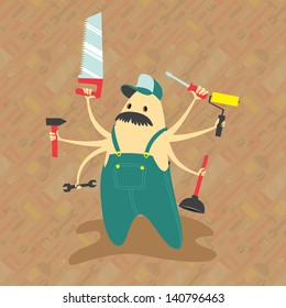 Helpful handyman with great mustache and multiple arms ready to help around the house.