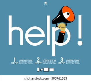 Helpful icon. Service concept us support help desk. Infographics design web elements. Template background. File is saved in AI10 EPS version.