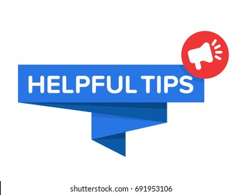 "Helpful Tips Badge Vector. Speech bubble with megaphone icon and ""helpful tips"" text. Blue banner isolated on white."
