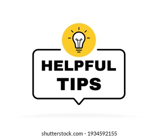 Helpful tips geometric message bubble with light bulb emblem. Banner design for business and advertising. Vector illustration.