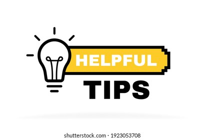 Helpful tips label design with light bulb and rays. Banner design for business and advertising. Vector illustration.
