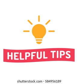 Helpful tips. Ribbon with bulb icon. Flat vector illustration on white background.