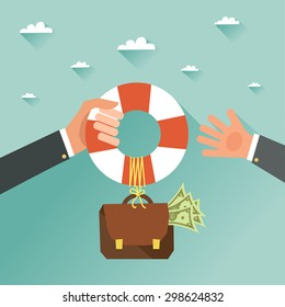 Helping Business to survive. Businessman getting financial aid with lifebuoy. Business help, support, survival, investment concept. Vector colorful illustration in flat style