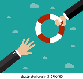 Helping Business to survive. Drowning businessman getting lifebuoy from another businessman. Business help, support, survival, investment concept. Vector illustration in flat style