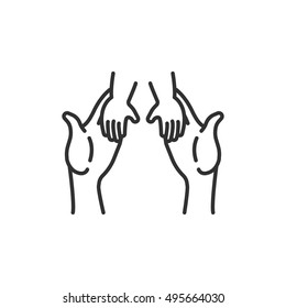 helping children icon, line design. child and adult hands, vector linear illustration.