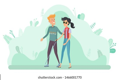 Helping disabled people vector, man with woman holding stick. Blind female character walking with male personage. Nature with greenery and leaves. Flat cartoon