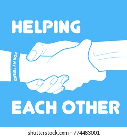 Helping Each Other Vector Poster Illustration