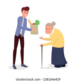 Helping elderly people flat vector illustration. Young man, social worker, volunteer delivering food, doing purchases for old, senile person. Cartoon grandson visiting grandma with grocery products