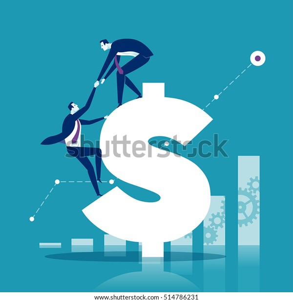 Helping Hand. Businessman helps to climb a dollar sign. Concept business vector  illustration.