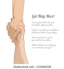 Helping hand concept. Gesture, sign of help and hope. Two hands taking each other. Isolated vector watercolor, line illustration on white background.