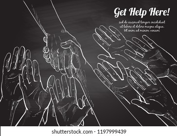 Helping hand concept. Gesture, sign of help and hope. Two hands taking each other. Chalk drawing on the blackboard, isolated vector illustration.