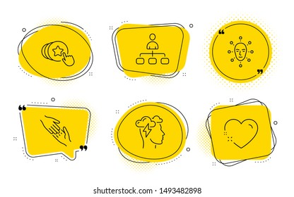 Helping hand, Face biometrics and Heart signs. Chat bubbles. Mindfulness stress, Hold heart and Management line icons set. Cloud storm, Love brand, Agent. Give gesture. People set. Vector