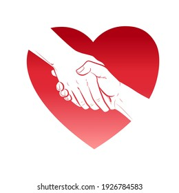 Helping hand and heart concept. Gesture, sign of help and hope. Two hands taking each other. Isolated vector watercolor, line illustration on white background.