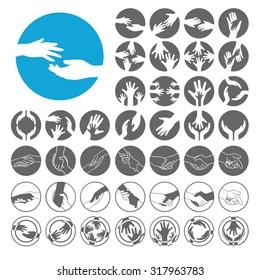 Helping Hand icons set. Illustration EPS10