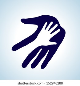 Helping hand illustration in white and blue. Concept of help, assistance and cooperation.