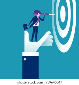 Helping Hand. The hand is lifting the businessman to reach his goal. Business concept vector illustration.
