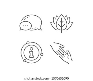 Helping hand line icon. Chat bubble, info sign elements. Give gesture sign. Charity palm symbol. Linear helping hand outline icon. Information bubble. Vector