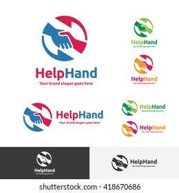 Helping Hand Logo, Hand Shake Brand Identity