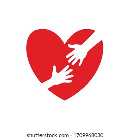 Helping hand on red heart icon isolated on white background. Vector illustration.