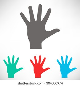 Helping hand silhouette. Set of varicolored icons.