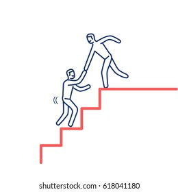 Helping hand. Vector illustration of businessman supporting on the way up on stairs | modern flat design linear concept icon and infographic red and blue on white background