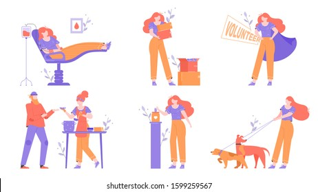 Helping others, gratuitous assistance, aid, volunteering and charity. Blood, clothes and money donation. Food bank for homeless a dog shelter. Trendy illustrations set with a female character.