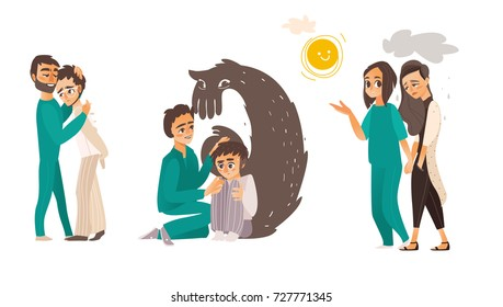 Helping people with mental disorder - calming down, soothing, showing way out, physiological, medical assistance, flat cartoon vector illustration isolated on white background. Mental disorders