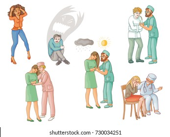 Helping people with mental disorders, calming down, soothing, physiological, psychiatric, medical aid, support, flat cartoon vector illustration isolated on white background. Treating mental disorders