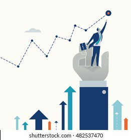 Helping to Reach a Goal. Businessman standing on the hand reaching for the goal. Business concept vector illustration.
