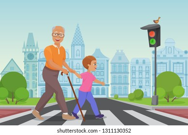 Helping senior old man. Little boy helps an old man to cross the road in city vector illustration.