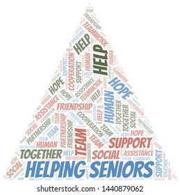 Helping Seniors word cloud. Vector made with text only.