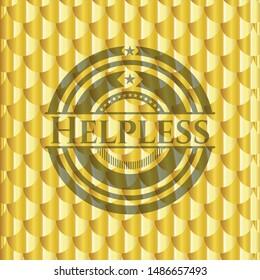 Helpless golden badge or emblem. Scales pattern. Vector Illustration. Detailed.