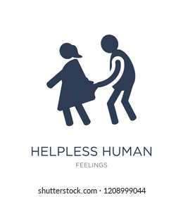helpless human icon. Trendy flat vector helpless human icon on white background from Feelings collection, vector illustration can be use for web and mobile, eps10