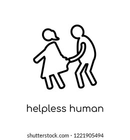 helpless human icon. Trendy modern flat linear vector helpless human icon on white background from thin line Feelings collection, editable outline stroke vector illustration