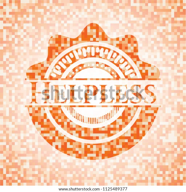 Helpless orange mosaic emblem