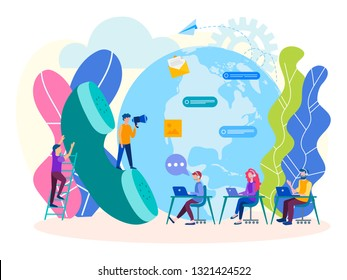 Helpline concept, Customer service, Call center. Vector illustration for banners, posters, social media.