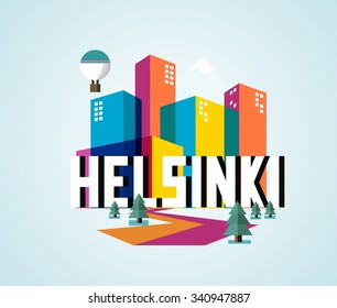 Helsinki in Finland is Beautiful city to visit on holiday, vector cartoon illustration