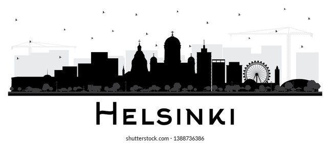 Helsinki Finland City Skyline Silhouette with Black Buildings Isolated on White. Vector Illustration. Business Travel and Concept with Historic Architecture. Helsinki Cityscape with Landmarks.
