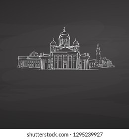 Helsinki Finland signs on blackboard. Digital chalk drawn vector sketch on blackboard. European capitals destinations.