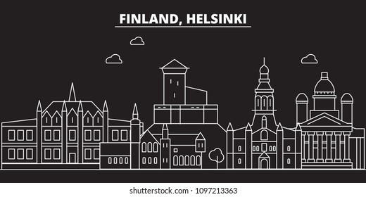 Helsinki silhouette skyline. Finland - Helsinki vector city, finnish linear architecture, buildings. Helsinki travel illustration, outline landmarks. Finland flat icons, finnish line banner