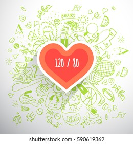 Helthy lifestyle heart concept, doodle illustration