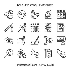 Hematology, bold line icons. The illustrations are a vector, editable stroke, 48x48 pixel perfect files. Crafted with precision and eye for quality.