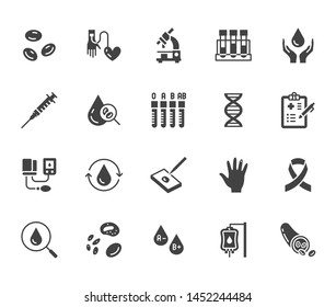 Hematology flat glyph icons set. Blood cell, vessel, sphygmomanometer, dna test, biochemical microscope vector illustrations. Signs for donor day. Silhouette pictogram pixel perfect 64x64.